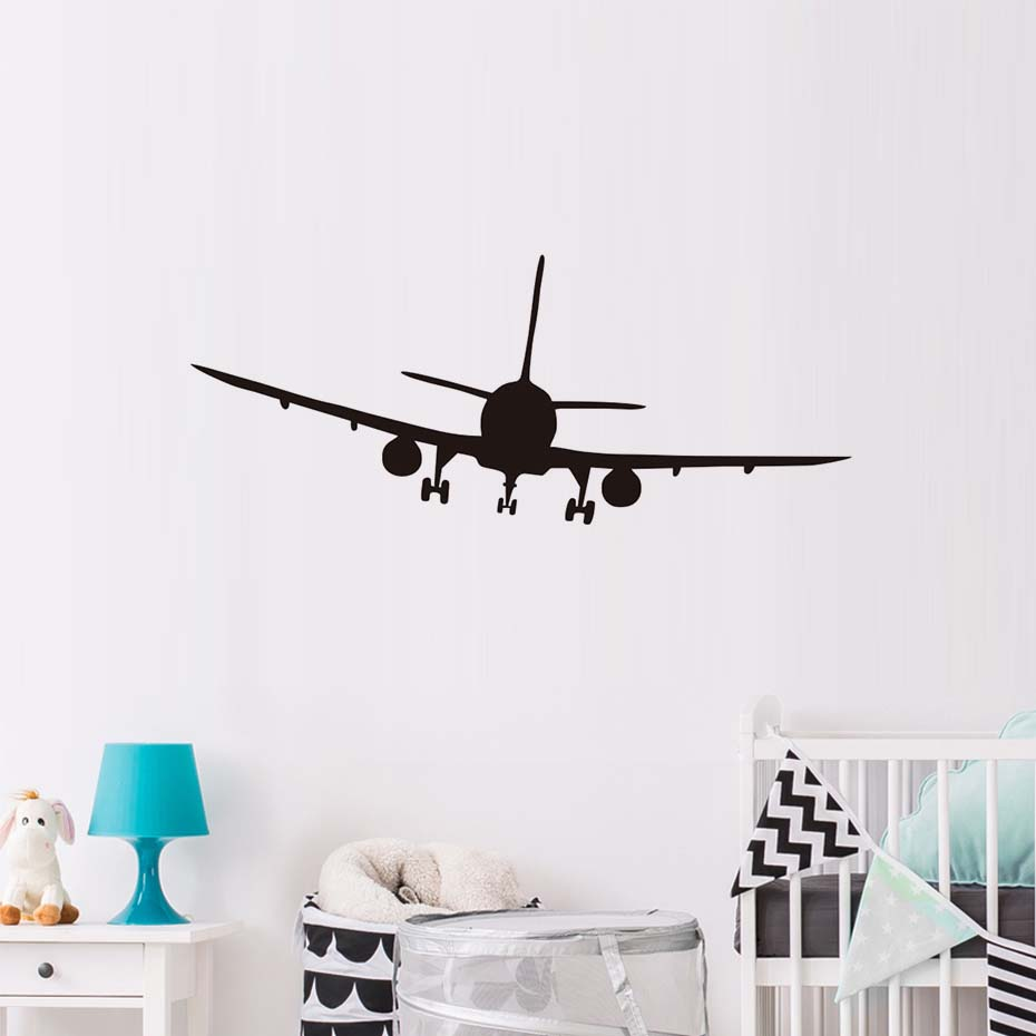 Hot Commercial Airliner Aeroplane Wall Sticker Removable Self Adhesive Wallpaper For Kids Room Bedroom Art Decals Home Decor