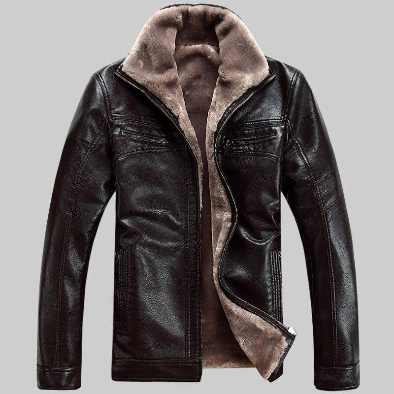 Бесплатная доставка Лидер продаж зима толстые кожаные Гар Для мужчин t Повседневное стекаются кожаная куртка Мужская одежда кожаная куртка...