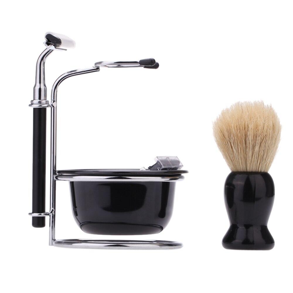 4 in 1 men 39 s razor set professional beard razor shaving brush bowl stand holder 5 blades wet. Black Bedroom Furniture Sets. Home Design Ideas
