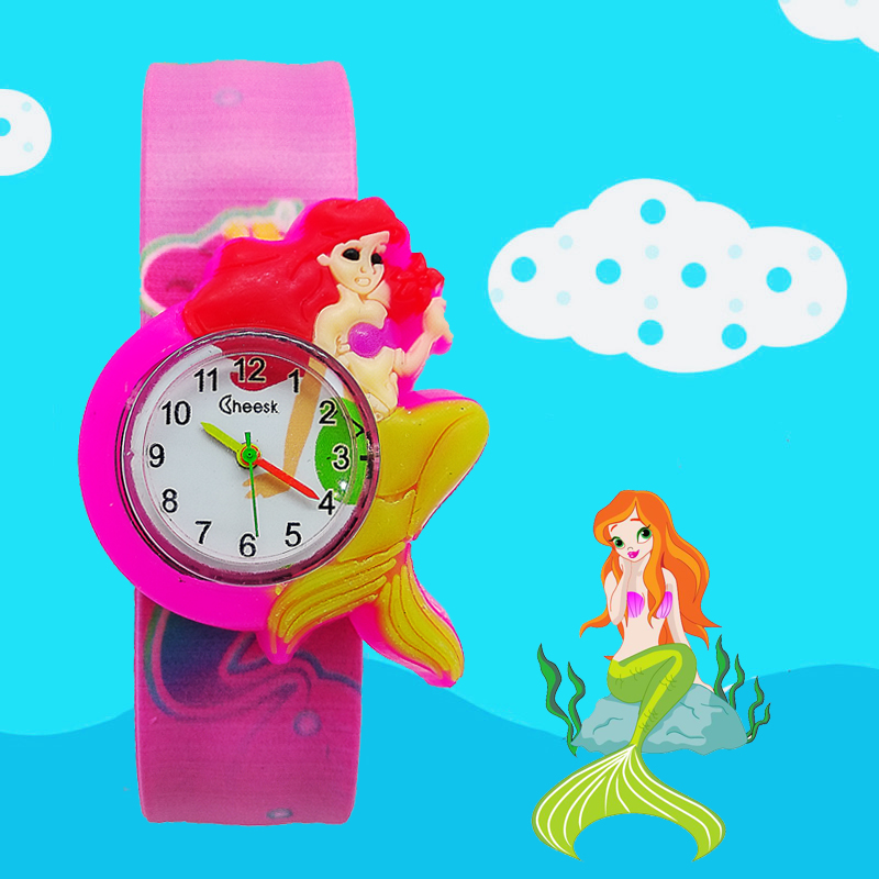 Children's Watches Cartoon Mermaid Kids Quartz Wristwatches Kid Baby Clock Beat Circle Watch Child Girl Boy Gift Relogio Montre