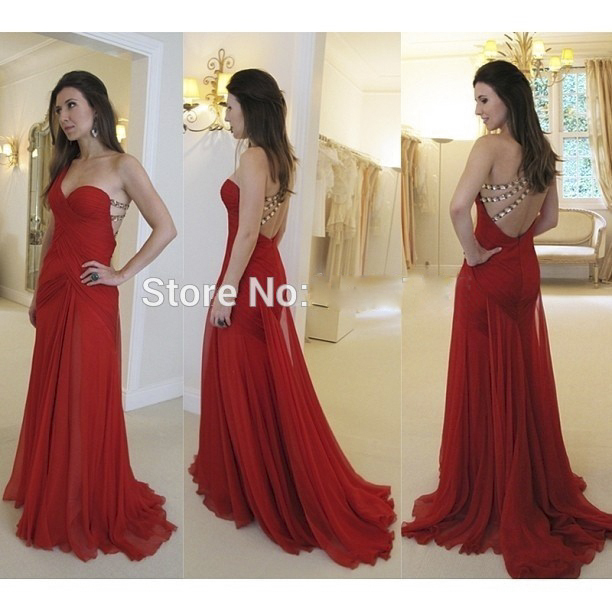 2017 Red A-Line Long   Evening     dresses   Plus Size Sleeveless One Shoulder Beaded Prom Gown Backless Party   Dress   Vestido de noche
