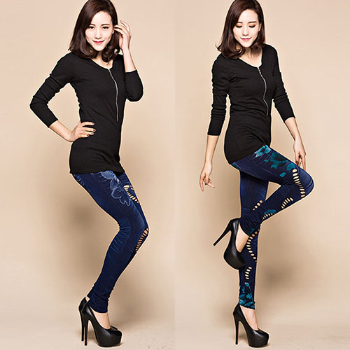 2016 Newest Women s Sexy Hollow Cut Elastic Pants Flower Print Skinny Jeans Denim Leggings 2016 Newest Women's Sexy Hollow Cut Elastic Pants Flower Print Skinny Jeans Denim Leggings