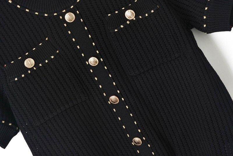Lavorato Donne Vestito Pista black Pantaloni 2 Nuovo T Di 2019 Scava Larga Manica Abiti Del Maglia Corta White shirt Con A Tuta Set Joydu Delle Pezzi Estate Fuori Gamba vw4dvq0