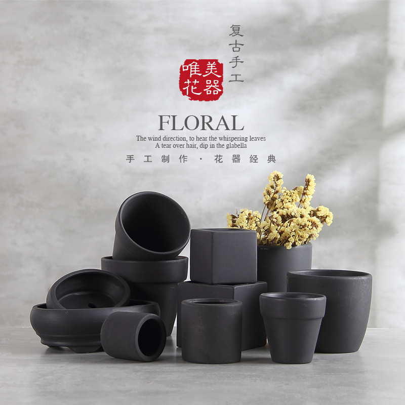 Black Terracotta Flower Pots Black Clay Pots Breathable Tile Pots Hongtao European Purple Clay Bonsai Small Potted Plants