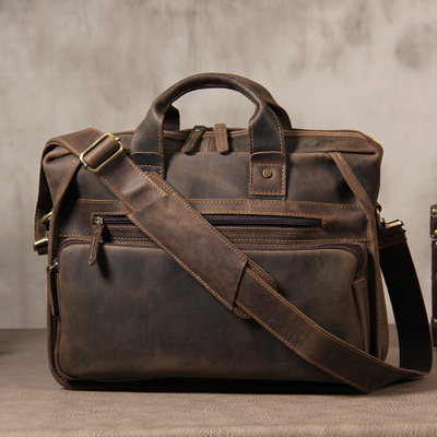 Crazy Horse Oil Leather Men Briefcases Computer Bags Handmade Cowhide Leather Briefcase 14