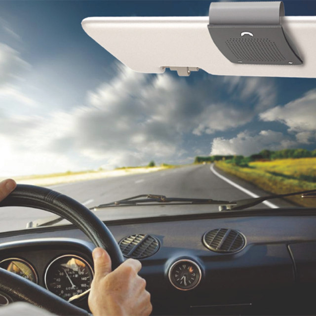 Car Bluetooth Loudspeaker with Built-In Mic and Clip