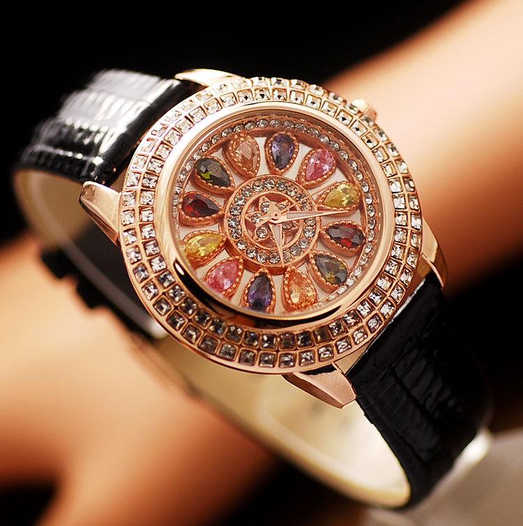 Prix pour De luxe Élégant Femmes Montres Mode Femmes En Cuir Véritable Table de Diamant Robe Montre Dame de Montre-Bracelet strass montres 2016