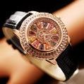 Luxury Elegant Women Watches Fashion Women Genuine Leather Diamond Table Dress Watch Lady's Wristwatch rhinestone watches 2016