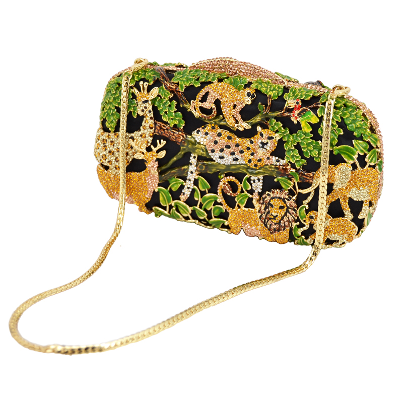 Zoo Inspired Crystal Purse evening bags women pochette soiree Monkey Lion Shape Clutches party ladies Clutch bag SC045-in Top-Handle Bags from Luggage & Bags    1