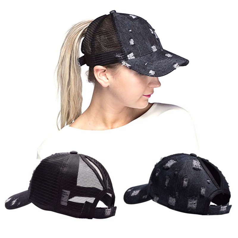 Dashing Hot Ponytail Cap Ripped Denim Style Cotton Sunshade Sun Hat Headwear Sportswear Accessory Newest Superior Performance