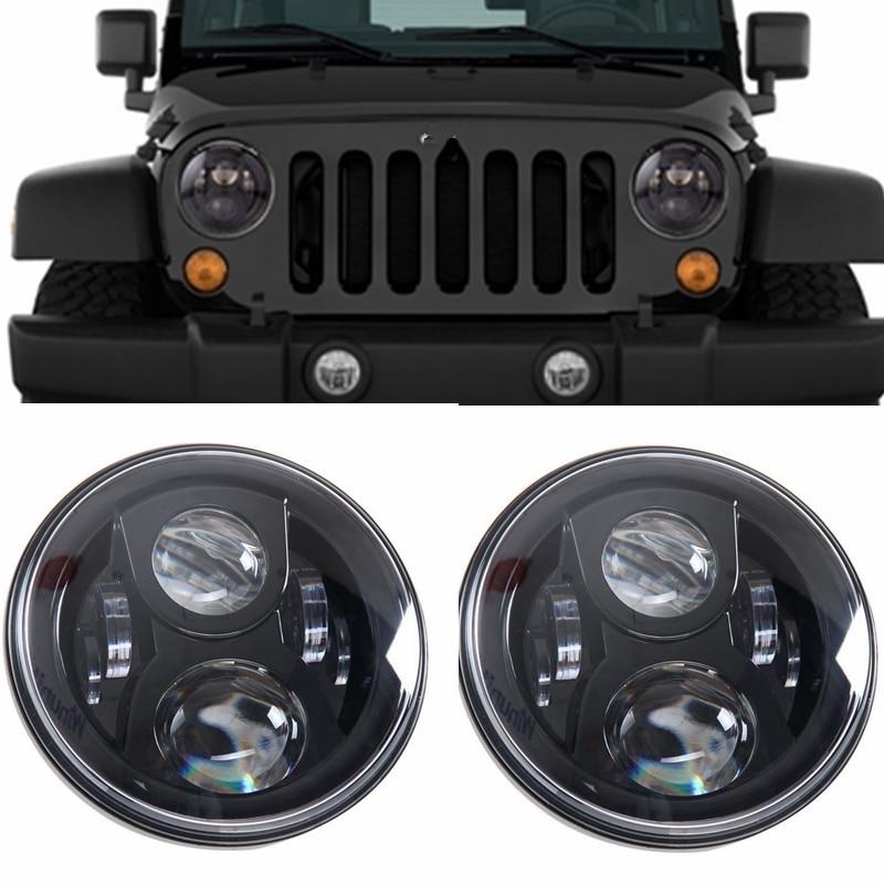 7 Inch Round Led Headlight Bulb Black For Jeep Wrangler Jk