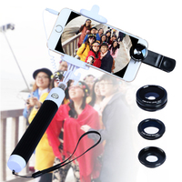 Selfie Stick Monopod Voor iPhone 6 S Samsung Note 4 5 S6 rand Plus Camera Lens Kit met Uitschuifbare zelfportret Kabel APL-96CX3