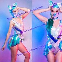 Сексуальный ночной клуб костюм с пайетками Женщины Девушки сценическая одежда лазер боди кошка маска ГОГО одежда будущее космическое шоу