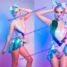 Sexy nightclub sequin costume women female girl stage wear laser bodysuit cat mask gogo clothing future space show(China)