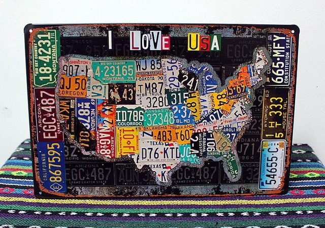 I LOVE USA! license plate map of the United States vintage tin signs ...