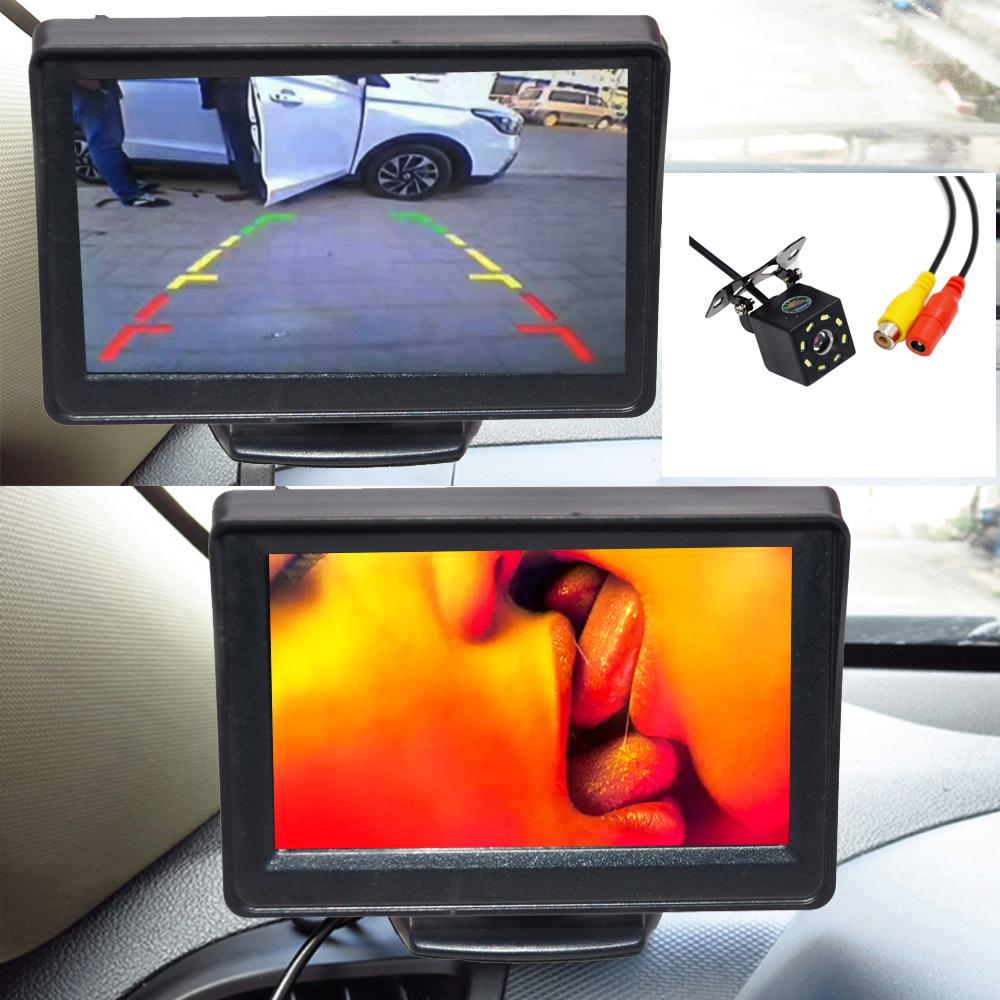 "Cámara de visión trasera 4,3 ""TFT LCD Monitor de pantalla en Color + visión nocturna impermeable de marcha atrás de respaldo 2In1 aparcamiento Reve 6"