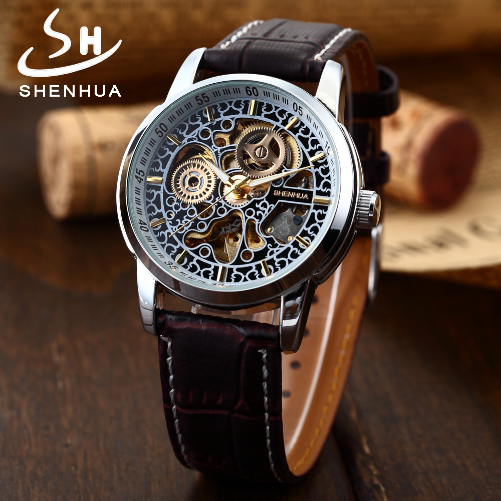 SHENHUA 2018 New Arrival Men's Fashion Skeleton Mechanical Watches Silver Case Leather Automatic Self Widing Wrist Watch Clock shenhua brand black dial skeleton mechanical watch stainless steel strap male fashion clock automatic self wind wrist watches