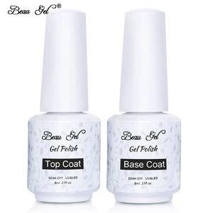 Beau Gel Professional 8ML Nail Art Based Primer Base Coat Gel Top Coat Manicure Shiny Sealer UV LED Foundation Gel Nail Polish