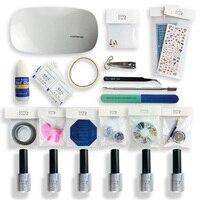 Gel Varnishes Set With LED Lamp Everything For New Learner UV Nails Polish Art Manicure Kits