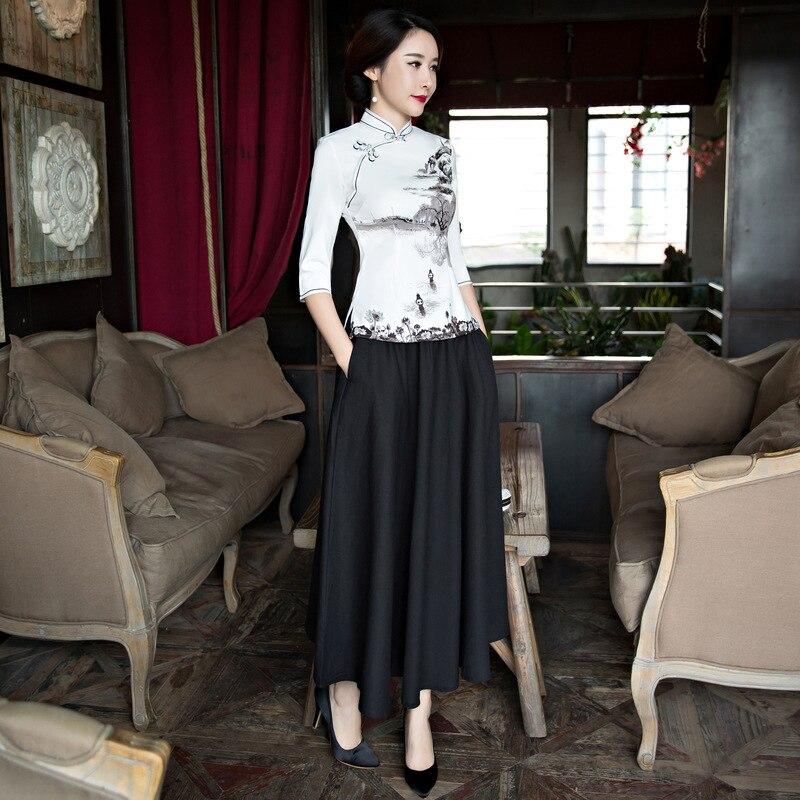 Nouvelle Arrivée Chinois Tradition femmes Blouse Rayonne Chemise Tops Imprimer Floral Main Bouton Vêtements Plus Taille S M L XL XXL 3XL