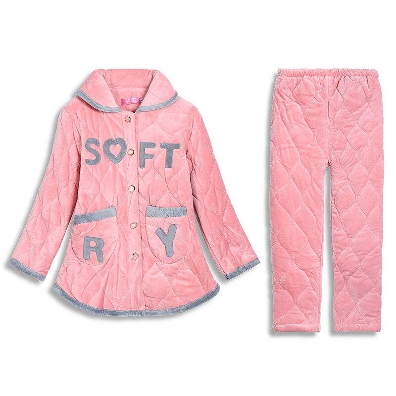 Thicken Warm Women   Pajama     Set   Winter Flannel Sleepwear Pijama Long Sleeve Shirt+Pants 2PCS Sleep Suit Soft Homewear Nightwear