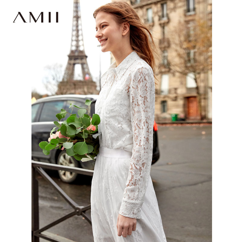 Amii Minimalist Lace Shirts Women 2019 Spring New Elegant Solid Long Sleeve Sexy Bow Lace Up Tie Female White Blouse-in Blouses & Shirts from Women's Clothing    1
