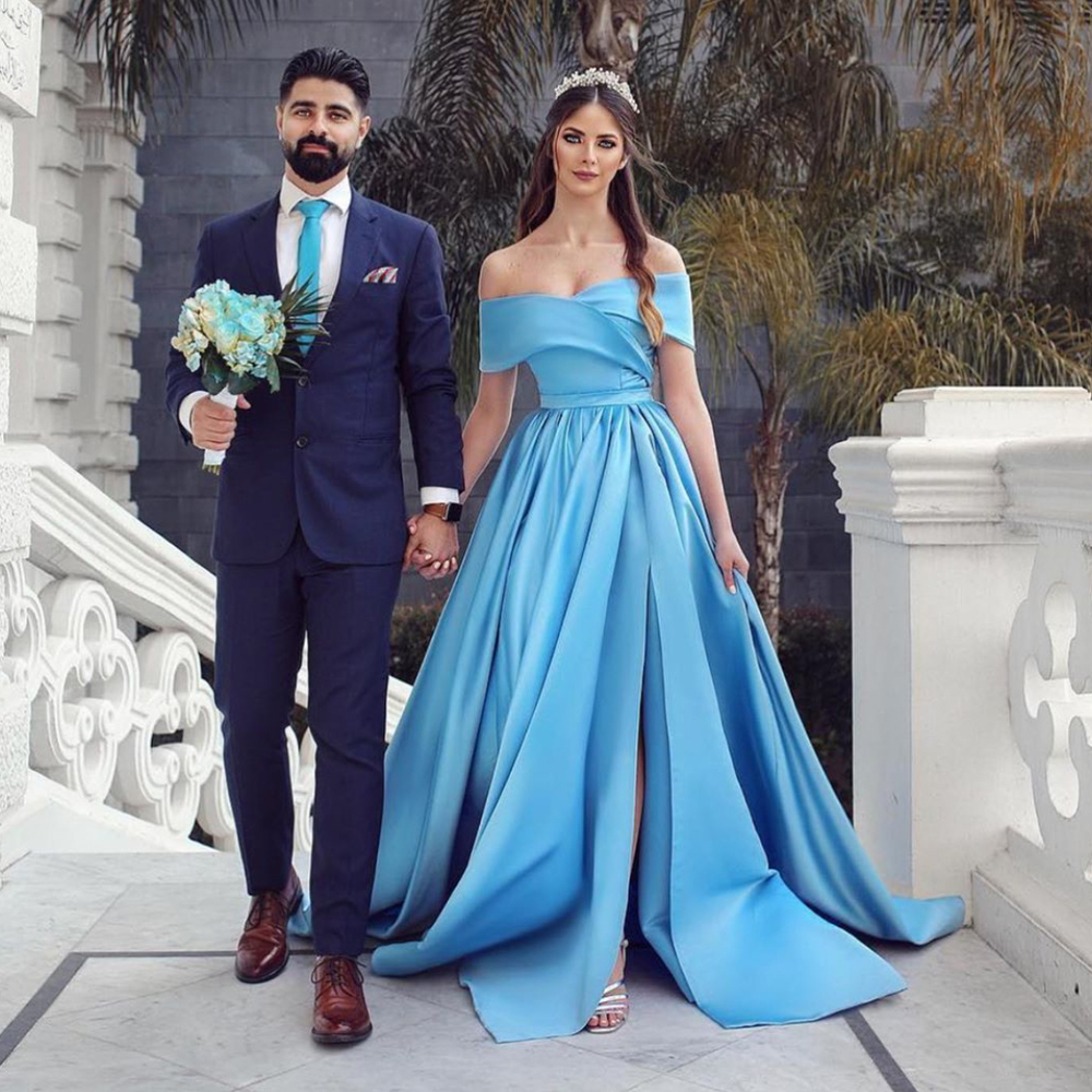 blue   prom     dresses   2020 sweetheart neckline off the shoulder stain evening   dresses   gowns arabic