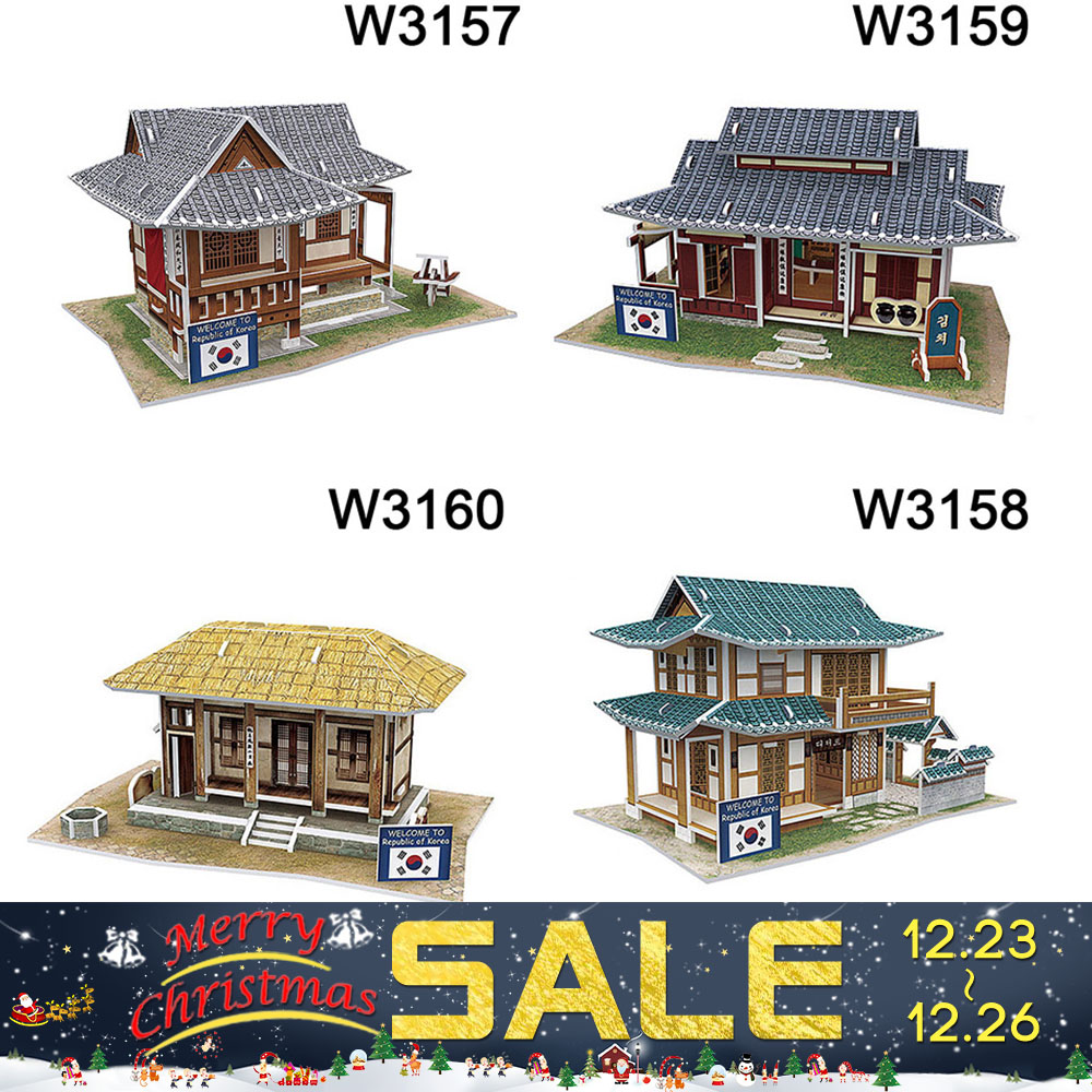 3D Wood Puzzle DIY Model Kids Toy Western Korea Style House Puzzle puzzle 3d building wooden puzzles Free Shipping Toy gift