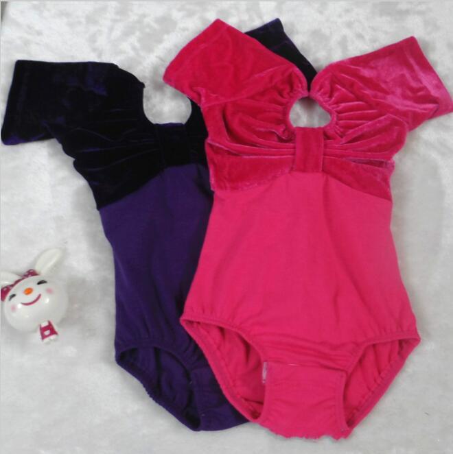 Classical Girls Ballet Dance Leotard Cotton Velvet Splice Children Gymnastics Clothing Pink Purple Ballet Unitard For