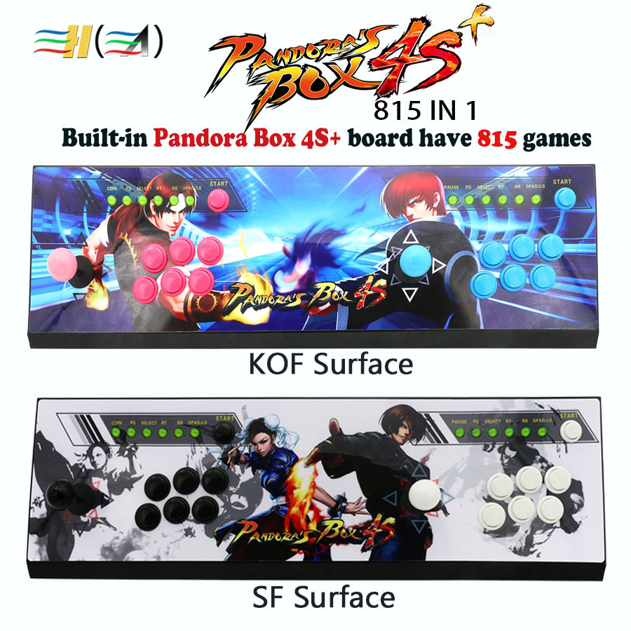 New Pandora box 4S+ 815 in 1 arcade control kit joystick usb buttons zero delay arcade console controller children game machine hdmi vga pandora box 4s arcade game board 815 in 1 with 28 pin harness for arcade mechine diy arcade kit