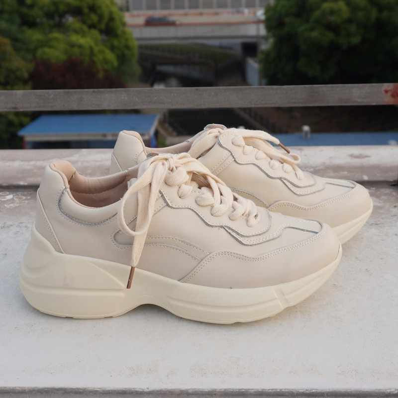 af31d1b9120 RASMEUP Genuine Leather Women's Platform White Clunky Sneakers 2019 Fashion  Lace Up Women Fat Shoes Woman Casual Dad Shoes