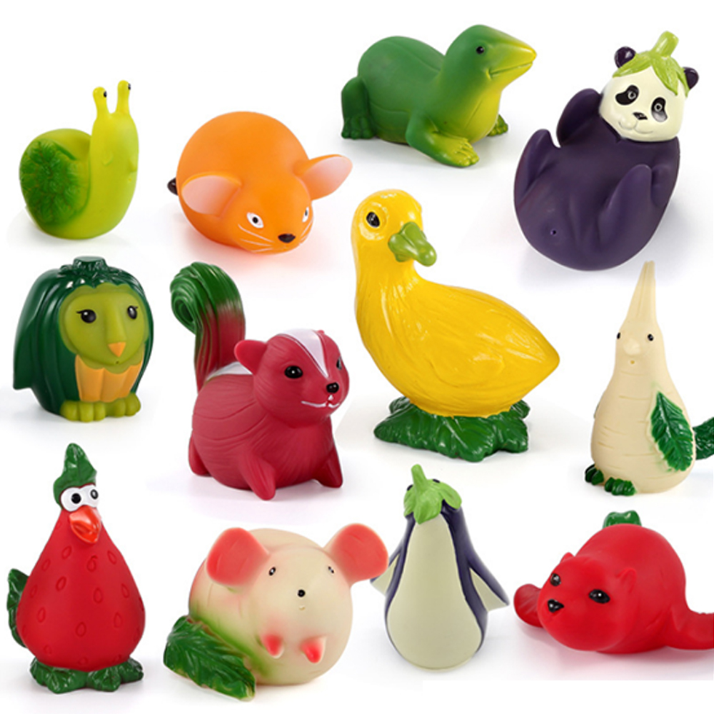 Simulation Fruit Vegetables Bathing Water Spraying Squeeze Toys Soft Rubber Cute Cartoon Baby Shower Baby Bath Play Toys P5