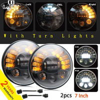 CO LIGHT 1 Pair 70W Round Car Headlight 7 Inch DRL Signal Light For Hummer Toyota
