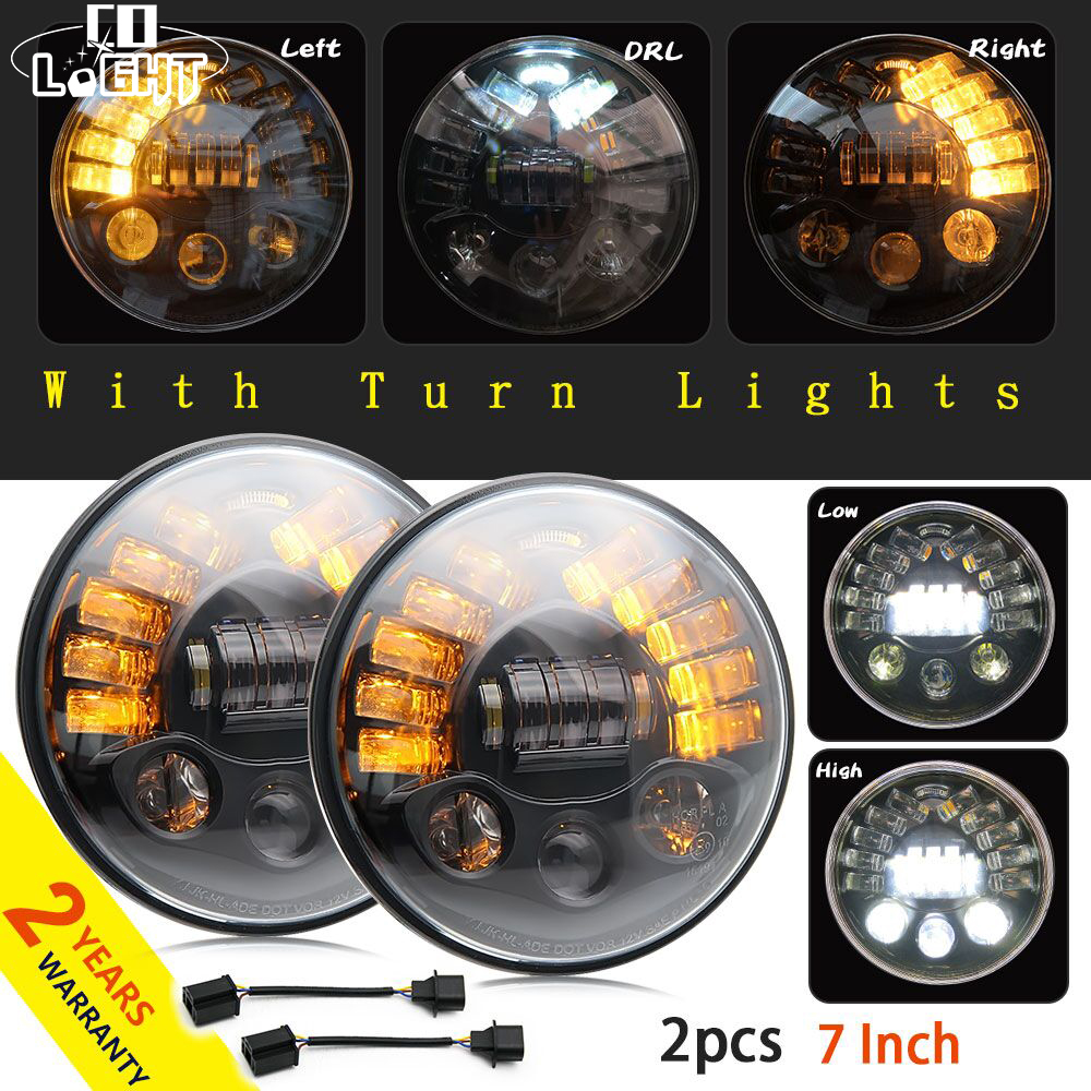 CO LIGHT 1 Pair 70W Round Car Headlight 7 Inch DRL Signal Light for Hummer Toyota Lada 4X4 Niva Uaz Off Road H4 High Low 40W