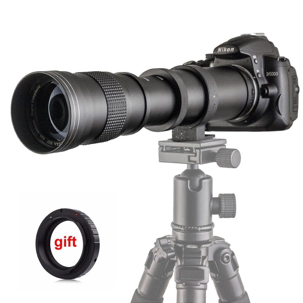420-800mm F/8.3-16 Manuale Super Teleobiettivo Zoom Lens + T2 Monte Anello Adattatore per DSLR Canon Nikon Pentax Olympus Sony A6300 A7