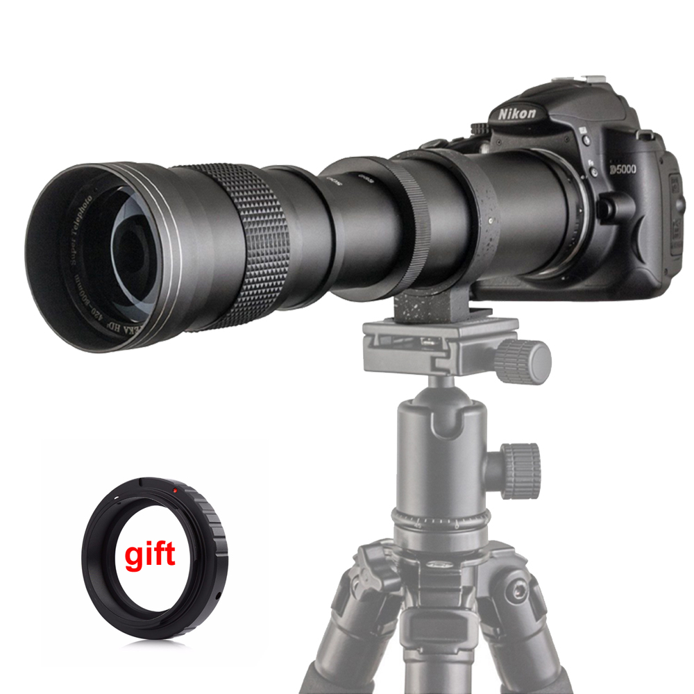 420-800mm F/8.3-16 Zoom Super téléobjectif manuel + adaptateur de bague de montage T2 pour reflex numérique Canon Nikon Pentax Olympus Sony A6300 A7