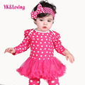 2Pcs New Born Baby Girl Clothes Winter Clothing Set Long Sleeve Polka Dot Cotton Romper Tutu Dress Headband 2016 Free Shipping