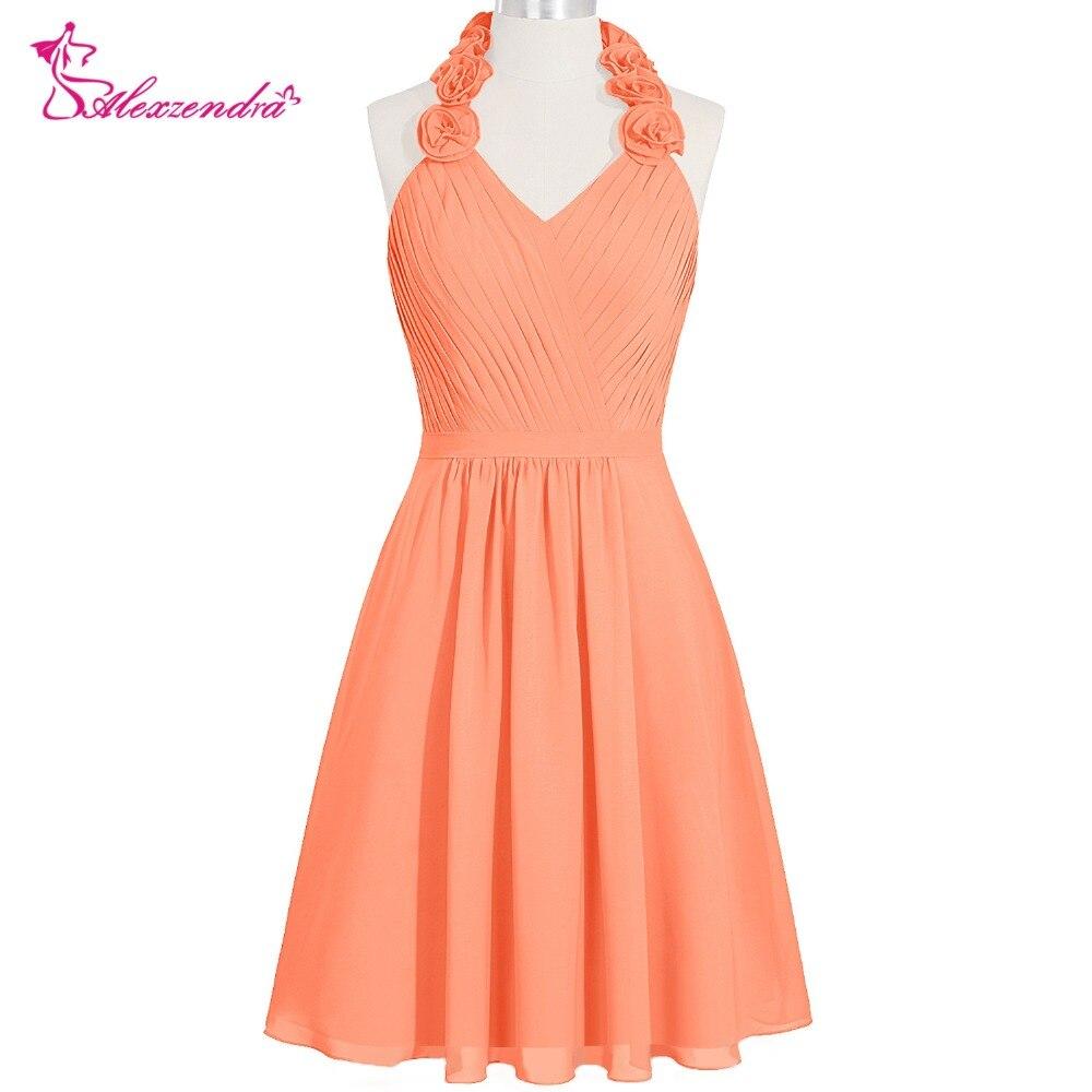 Alexzendra Chiffon Orange Halter Up Knee Length   Bridesmaid     Dresses   for Wedding Simple Party Gown