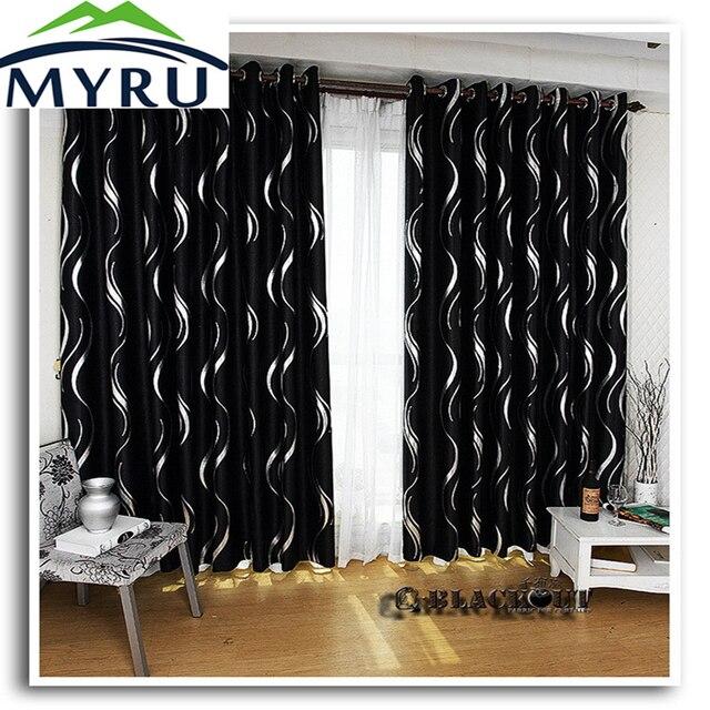 MYRU Nieuwe collectie mooie schaduw blakcout gordijnen zwart en ...