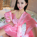 2017 new set women sexy lingerie lace faux satin front open belted bathrobe nightgown sleepwear cardigan lacing sleepshirts