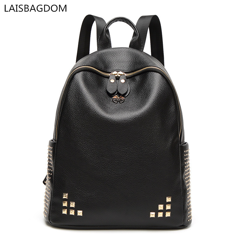 2017 Fashion Backpack Women Leather Rivet Soft PU Leather Bags Shoulder Schoolbags for G ...
