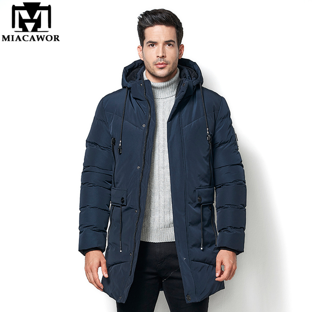 Special Price MIACAWOR New Warm Winter Jacket Men -40 Degree Fleece Thicken Men Parkas Hooded Waterproof Medium-Long Outwear Casual Coat J566