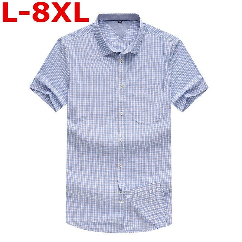 2018 new plus size 8XL 7XL 6XL Mens Business shirt Fashion Plaid Short Sleeve Shirt Male Casual Shirt Chemise BIG SIZE 9XL