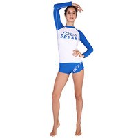 SABOLAY Long Sleeve Rashguard Letter Print Shirt and Shorts 2 Piece Set Dive Skin Swimwear Rash Guard Swimming Surfing Suits