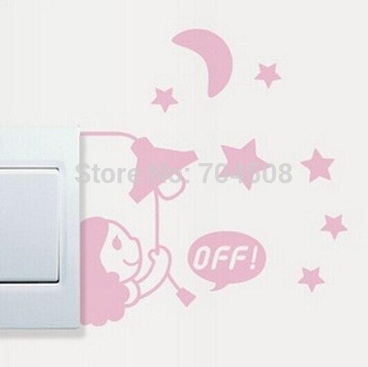 FD1243 Girl Moon Stars Switch Light Funny Wall Decal Vinyl Stickers DIY ~1pc~