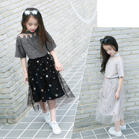 2017 Autumn Girls 2 Outfit Kids Boutique Teens Clothing Dark Grey Chilren Costumes For Age 456789