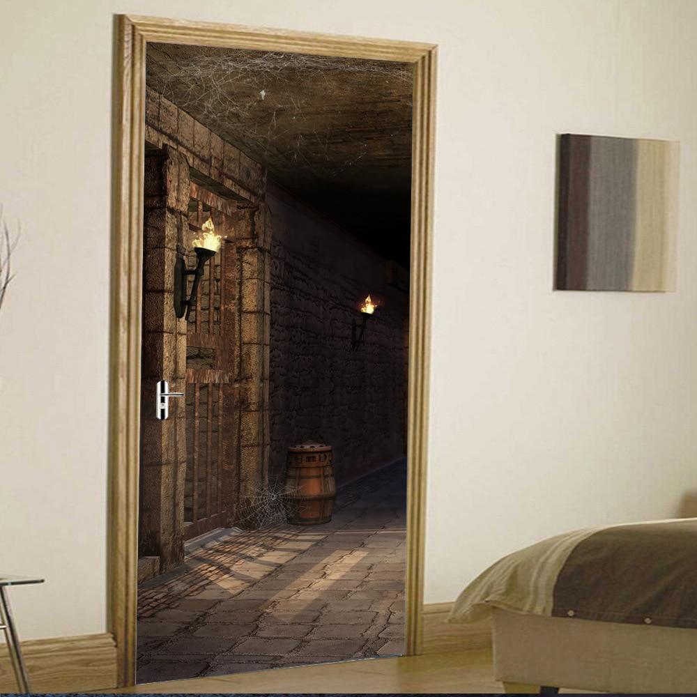 "Image 4 - Scary Dark Prision Bed 3d Door Wall Mural Wallpaper StickersSelf adhesive Vinyl Removable Art Door Decals 30.3x78.7""-in Wall Stickers from Home & Garden"