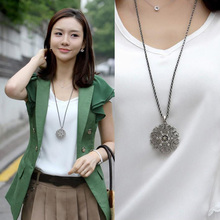 Fashion Women Crystal Hollow Flower Necklace Long Chain Pendant Necklaces Jewelr
