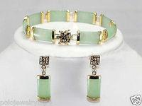 Prett素敵な女性の結婚式新しいジュエリーナチュラルグリーン宝石ブレスレットイヤリングセット> aaa gpブライダルワイドウォッチ翼銀のジュエリー