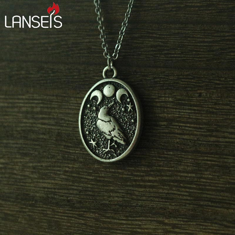 lanseis 1pcs Handmade Black RAVEN In Moon pendant Raven and Triple Moon Vintage birds necklace girls boy nart jewelry